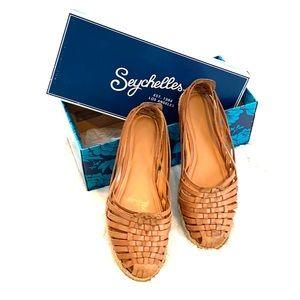 "Women's Seychelles ""Nifty"" Tan espadrille shoes."